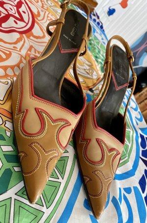 Mega ausgefallene Miu Miu Slingbacks spitz Sandalen High Heels Leder mit Pfennigabsatz Gr 40
