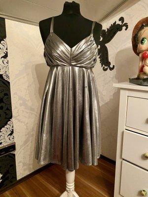 Mega ausgefallenes Original Vintage 80er 90er Jahre Retro Kleid Silber metallic Gr S/M