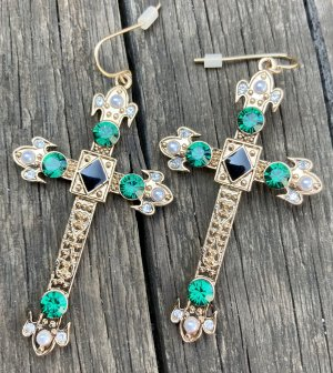 Bijou Brigitte Statement Earrings gold-colored-green