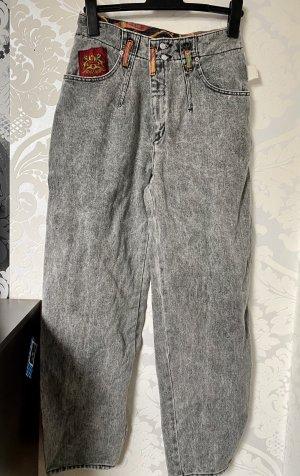 Mega coole Original 90er Jahre True Vintage High Waist Jeans schwarz grau bunt W:31 Unikat