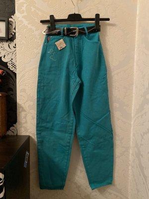 Mega coole Original 90er Jahre True Vintage HighWaist Jeans grün mit Maus W:26 D:32 Unikat