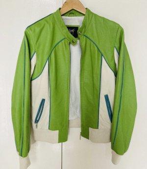 Gipsy Leather Jacket white-green