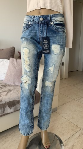 Mega Jeans .. Risse .. Fetzen .. stonewashed Gr. 28/32 # Blue Monkey # Neu .. blogger