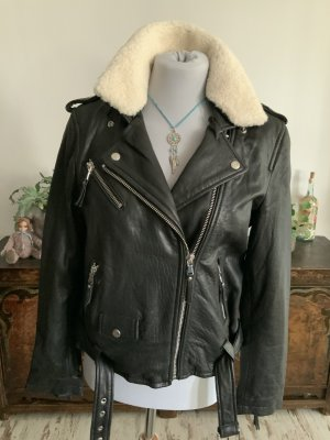 Be Edgy Leather Jacket black-natural white leather
