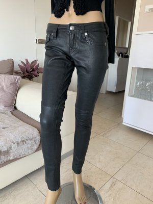 True Religion Pantalon en cuir noir