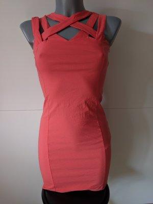 mega sexy bodycon Kleid Koralle rot XS 34 Stretch cut out minikleid