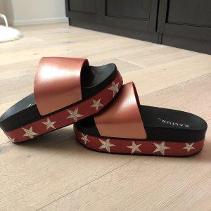 Kaltur Outdoor Sandals black-dark red leather