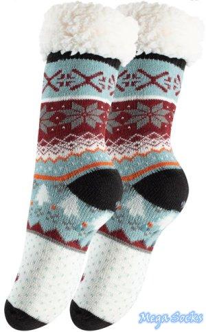 Mega Socks | Damen Winter Socken Hüttensocken Kuschelsocken Norweger Teddyfell Hausscuhe mit ABS Gr. 36-41