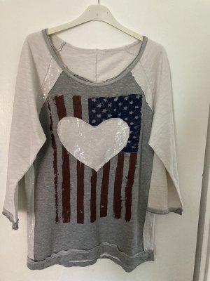 0039 Italy Sweatshirt gris clair-blanc
