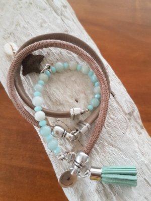 Bracelet en cuir chameau-turquoise cuir