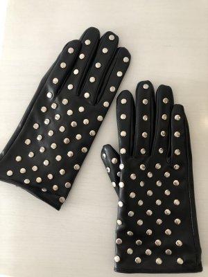 Handschoenen van imitatieleder zwart-zilver