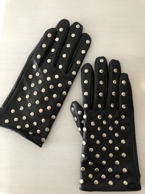 Faux Leather Gloves black-silver-colored
