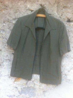 megaSALE-30.'Zipper'Bluse, 42, kakigrün, #reinleinen, hochwertig!