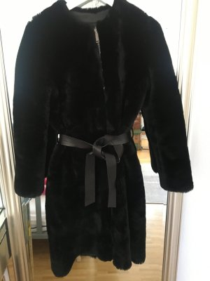 Massimo Dutti Leather Coat black pelt