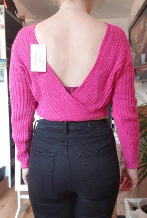 Meggan Grubb Pink Twist Back Cropped Rib Knit Jumper