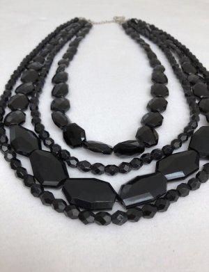 Mehrreihige Halskette Kette Collier   schwarz