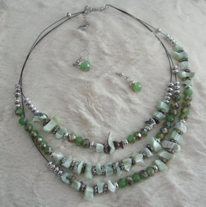 Collier Necklace green-silver-colored