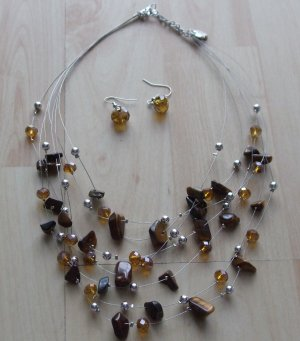 Collier Necklace silver-colored-brown