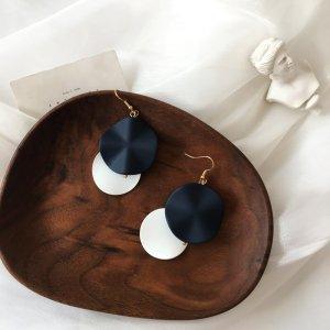 Mehrreihige Kreis Metall Marineblau Weiß geometrisch Winter Ohrringe Hacken elegant vintage