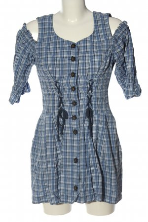 Meico Traditional Blouse black-blue check pattern casual look