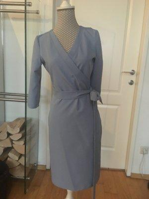 Robe portefeuille bleu azur tissu mixte