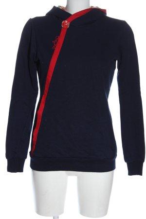 Meko Sweat à capuche bleu-rouge torsades style décontracté