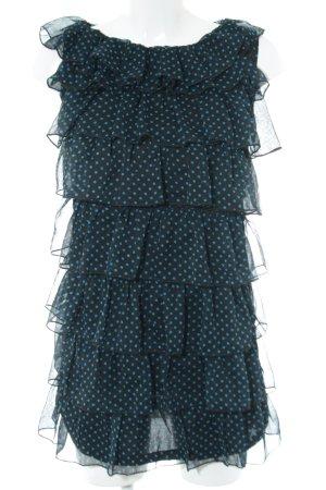Mela London Lange blouse zwart-turkoois volledige print casual uitstraling