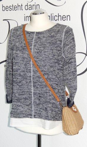 Meliertes Sweatshirt mit Blusensaum (dunkelblau/weiß, 3/4-Ärmel) - Neuwertig!