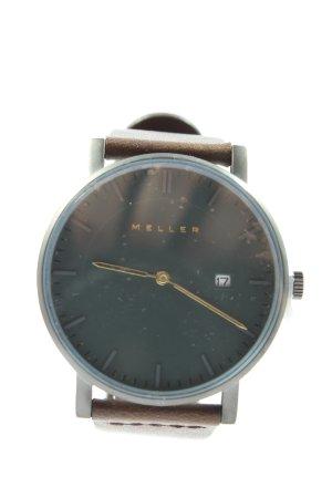 Meller Zegarek ze skórzanym paskiem srebrny-brązowy W stylu biznesowym