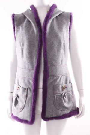 Fur vest silver-colored-dark violet wool