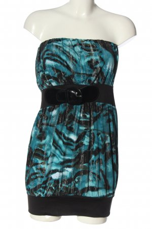 Melrose Bandeau Dress blue-black abstract pattern extravagant style