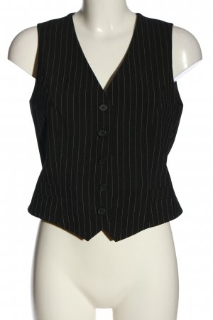 Melrose Waistcoat black-white striped pattern casual look