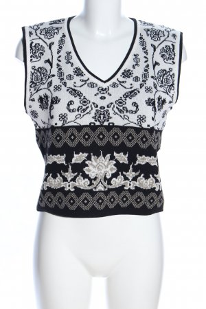 Melrose Fijn gebreide cardigan wit-zwart grafisch patroon casual uitstraling