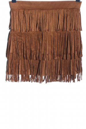 Melrose Fringed Skirt brown elegant