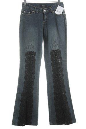 Melrose Jeansschlaghose dunkelblau Glitzer-Optik