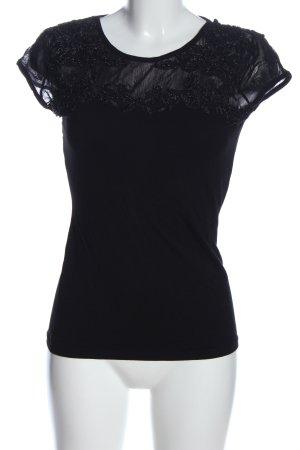 Melrose Kurzarm-Bluse schwarz Elegant