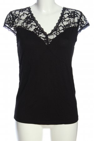 Melrose Kurzarm-Bluse schwarz Casual-Look