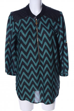 Melrose Langarm-Bluse schwarz-grün grafisches Muster Casual-Look