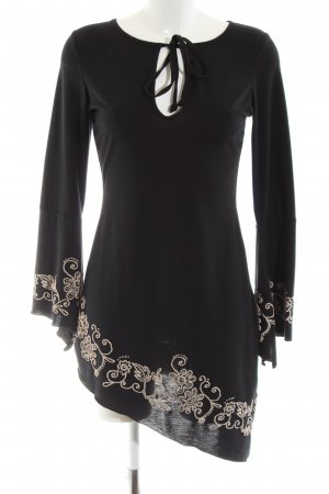 Melrose Long Blouse black-natural white flower pattern casual look