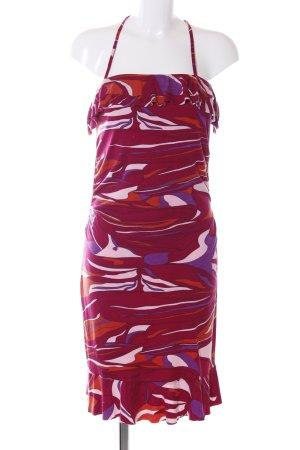 Melrose Neckholderkleid rot-lila abstraktes Muster Elegant