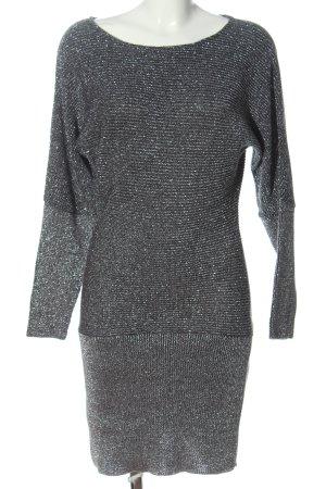 Melrose Swetrowa sukienka srebrny-czarny Elegancki