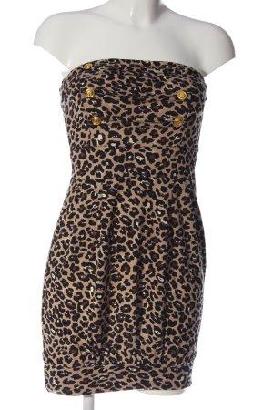 Melrose schulterfreies Kleid creme-schwarz Allover-Druck extravaganter Stil