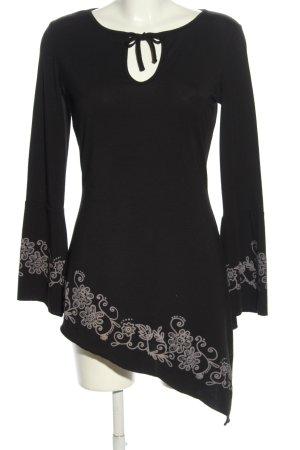 Melrose Camicia a tunica nero-grigio chiaro motivo floreale stile casual