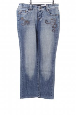 Melrose Straight Leg Jeans blue-white street-fashion look