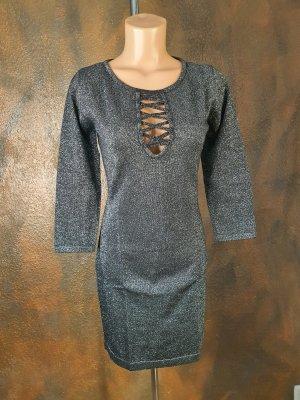 melrose strick kleid glamour silber metallic optik 40
