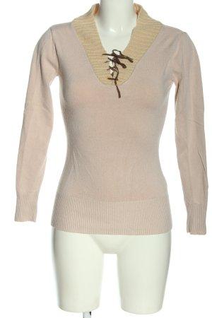 Melrose Maglione lavorato a maglia rosa-bianco sporco stile casual