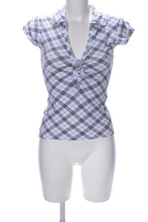 Melrose T-Shirt weiß-schwarz Karomuster Casual-Look