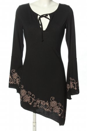 Melrose Asymetryczna sukienka czarny-brązowy Wzór w kwiaty W stylu casual