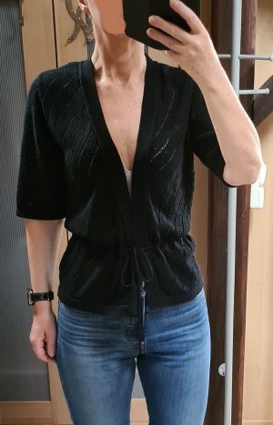 Melrose Short Sleeve Knitted Jacket black cotton