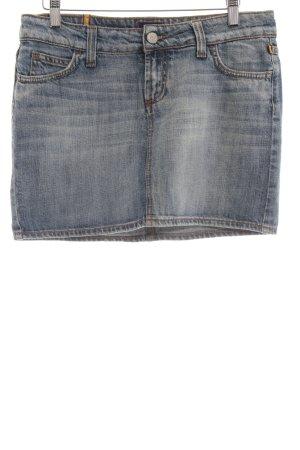 Meltin Pot Jeansowa spódnica niebieski Logo wykonane ze skóry